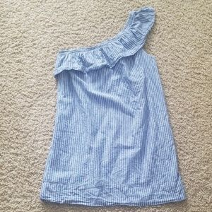 Madewell inspired chambray one shoulder dress